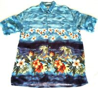 Pierre Cardin Hawaiian Shirt L Rayon Blue with Tropical Scene Floral Palm Trees