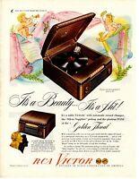 1940's ORIGINAL VINTAGE RCA VICTOR PHONOGRAPH RECORD PLAYER MAGAZINE AD (E)