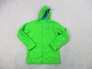 Columbia Jacket Youth Large Green Blue Hooded Outdoor Coat Full Zip Boys B52*