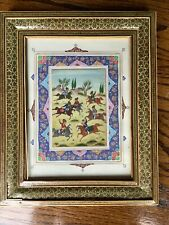 Vintage Antique Suratgari Painted Turanian Horse Game Persian Playing Polo Frame