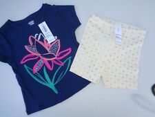 New Lot Baby Girls Clothes Old Navy Floral Tee T-shirt Biker Shorts 12-18m