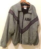 JWOD SKILCRAFT US Army Nylon Windbreaker Jacket Mens Size L Gray/black