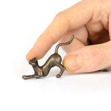 Bronze stretching cat, miniature metal animal sculpture, bonsai figurine