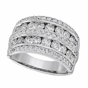 2 CT Simulated Diamond Multi Row Anniversary Band In 14K Solid White Gold