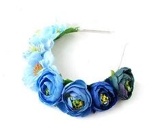 White Blue Rainbow Rose Flower Garland Headband Hair Crown Festival Boho 2216