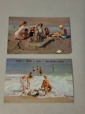 2 Vintage Postcards - Beach Scenes - Kids Playing By Water Sand Castle #649