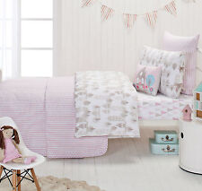 Designers Choice Junior Cameron Pink Ticking Stripe Quilted Pure Cotton  Coverlet