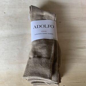Adolfo 4 Pack Men Dress Socks Dark Tan. Size 6-1/2 - 12  New