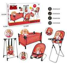 Baby Play Set 5 Pcs Doll Included Swing Bouncer Chair Cot High Chair Baby Set