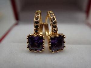Ladies 18K Yellow Gold GF Princess CZ Amethsy 16mm Hoop Huggies Earrings
