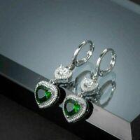 4Ct Heart Cut Green Emerald Gorgeous Drop Dangle Earring's 14k White Gold Finish