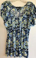 top blouse large l womens short sleeves casual stretch blue yellow green