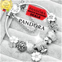 Authentic PANDORA CHARM Bracelet Silver White Flowers with European Charms New