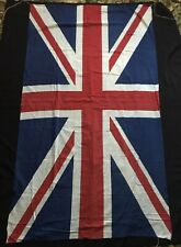 More details for large vintage union jack british made flag pennant ww2 era linen 96 x 167 cm