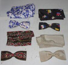 "8 pc Bow Tie Handkerchief Lot Geometric Printed 3 Royal & 1 Ormond Used 4"" Ties"
