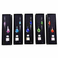 Creative Handmade Crystal Glass Dip Pen Calligraphy Fountain Set With Ink Gift