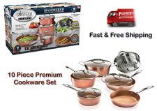 Gotham Steel 10 PC Hammered Nonstick Aluminum Premium Copper Cookware Set, New!