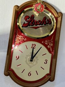 1986 STROH'S BEER Vintage Mirrored Lion Bar Clock, Advertisement, Man Cave Sign