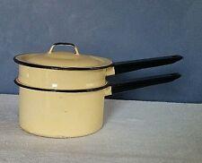 Vintage 3 piece Cream/Black Trim 1 Quart Enamelware Double Boiler
