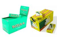 24 Book Rizla Green Regular Rolling Papers & Swan Extra Slim Filter Tips Smoking