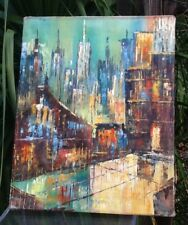 Mid Century Modern Painting ~ORIGINAL Abstract Expressionist Cityscape STUNNING!