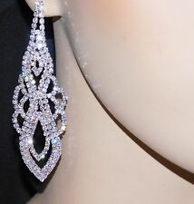 BRIDAL SILVER CLEAR RHINESTONE CRYSTAL CHANDELIER EARRINGS