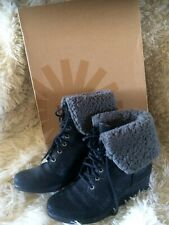 UGG ZEA Black Leather Shearling lined Wedge Waterproof Boots Size UK 6.5