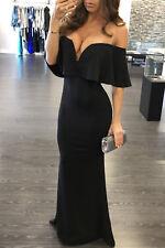 Abito lungo volant scollo Cerimonia Ballo Cocktail Party Ruffle Evening Dress S