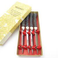 4 Vintage JAPAN Stainless Steel Steak Knives W/ Faux Stag Horn Antler Handles