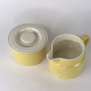 Vintage MCM Yellow & White Creamer and Sugar Bowl w/ Lid Set Made in USA