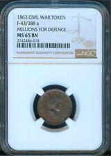 """Millions For Defence� 1863 Civil War Token, Ngc Ms65"