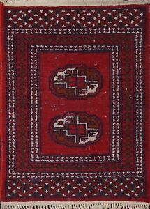 Vintage Geometric Bokhara Oriental Area Rug Wool Hand-knotted Square Carpet 2x2