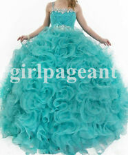 blue beading pageant Dress,ball gown/ Prom Party/formal Dresses S008
