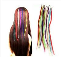 """16"""" Grizzly Feather Hair Extensions-Choose From 10 Colours l-Tip+Free Micro Bead"""