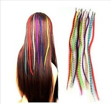 "16"" Grizzly Feather Hair Extensions- Festival- 10 Colours l-Tip+Free Micro Bead"