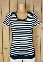 NAUTICA Womens Size Small Short Sleeve Shirt Striped Print Cotton Top
