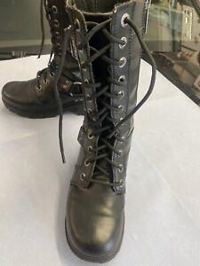 Harley Davidson Stiefel Schuhe Boots Größe 38,5 Leder Schwarz ORIGINAL