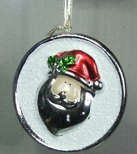 # CERAMIC CHRISTMAS TREE DECORATIONS DISC WITH SANTA FACE FREE POST