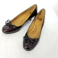 Sofft Womens Kitten Heels Brown Patent Leather Size 7 W Bow on Toe Pumps EUC