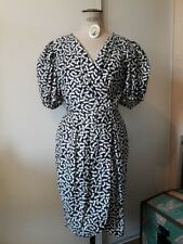 ROBE VINTAGE MANCHES BALLON BLANCHE MOTIF NOEUDS NOIRS PIN UP RETRO 50 ' T 38 40