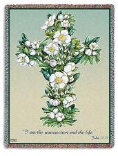 70x53 GARDENIA CROSS Floral Religious Tapestry Afghan Throw Blanket