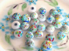 #489 Vintage Cabochons White Millefiori Colorful Shabby Romantic Round 9mm