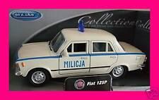 Spedizione LAMPO FIAT 125p/125 P MILICJA CREMA Welly Modello Auto 1:34 NUOVO & OVP