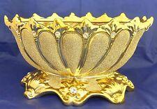 Pedestal gold ceramic oval center piece with rhinestone / Home decoration