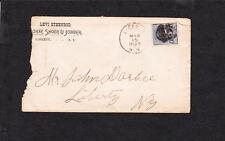 Levi Steenrod Horse Shoer & Jobber Liberty 1893 NY to John Darbee Ad Cover d