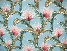 """Bark Cloth Yardage Blue Tassles and Fronds 59"""" Wide"""