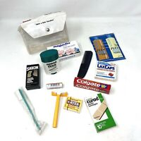 Vintage 80's Travel Toiletries Kit Necessities Toothpaste Razor After Shave Comb