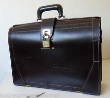 Vintage SAFE LEATHER briefcase mad bag laptop padlock men lock 40s case 50s 1960