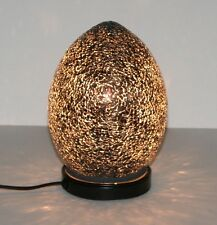 Black Mosaic Glass Mini Egg Lamp Table Light - 21cm Tall