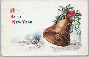 Vintage Postcard Antique 1900s Greeting Embossed A Wishing Happy New Year